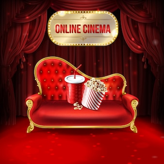 Ilustración de concepto de cine en línea. cómodo sofá de terciopelo con cubo de palomitas de maíz