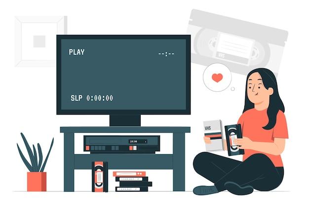Ilustración del concepto de cinta de video
