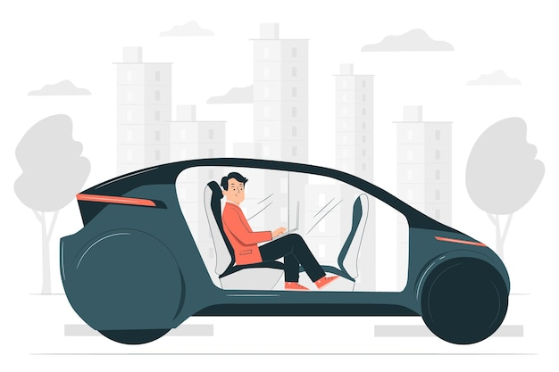 Ilustración de concepto de coche autónomo