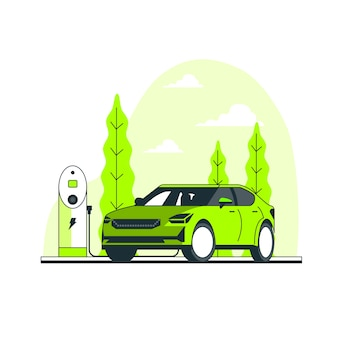 Ilustración del concepto de coche eléctrico vector gratuito