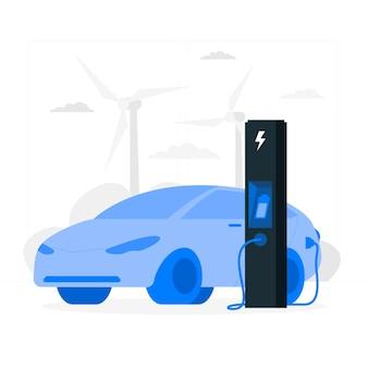 Ilustración de concepto coche eléctrico