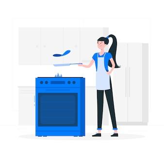 Ilustración del concepto de cocinando