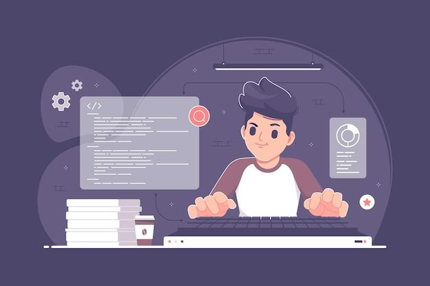 Ilustración del concepto de codificación y programación
