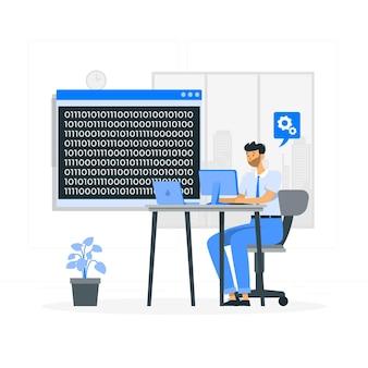 Ilustración del concepto de código binario