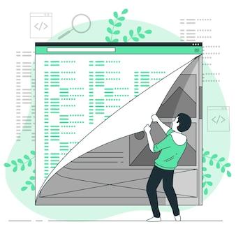 Ilustración del concepto de código fuente