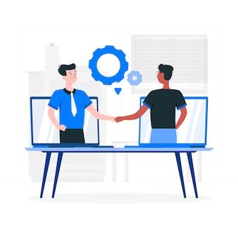 Ilustración del concepto de colaboración en vivo