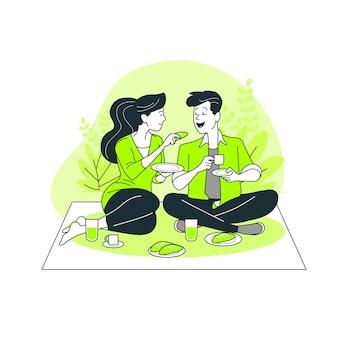 Ilustración de concepto comer acompañados