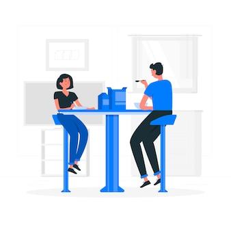 Ilustración del concepto de comer juntos