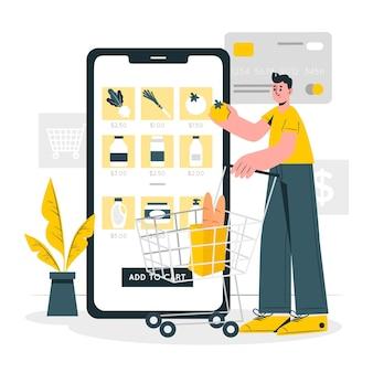 Ilustración del concepto de comestibles en línea