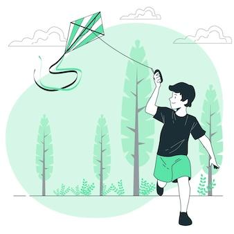 Ilustración de concepto de cometa voladora