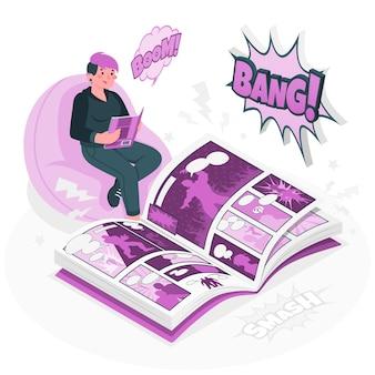 Ilustración de concepto de cómics de lectura