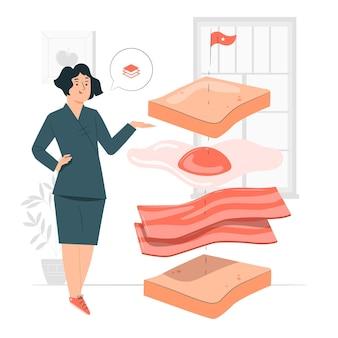 Ilustración de concepto de comida deconstruida