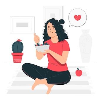 Ilustración del concepto de comiendo comida saludable