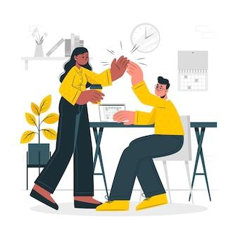 Ilustración del concepto de compañeros de trabajo