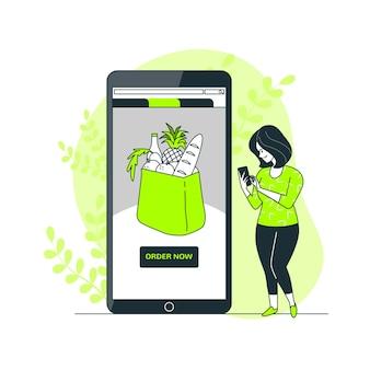Ilustración del concepto de compra de comestibles en linea