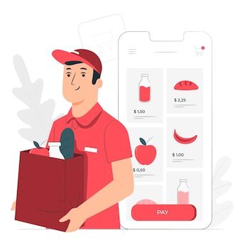 Ilustración del concepto de compra online de comestibles