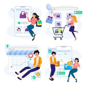 Ilustración de concepto de compras en línea y comercio electrónico