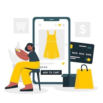 Ilustración del concepto de compras en línea
