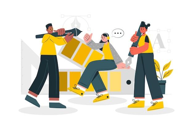 Ilustración de concepto de comunidad de diseño