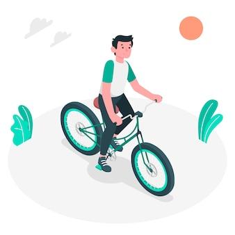 Ilustración de concepto conducir una bici