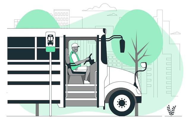 Ilustración de concepto de conductor de autobús