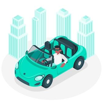 Ilustración del concepto de conductor de ciudad
