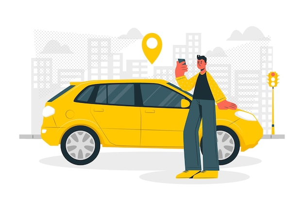 Ilustración de concepto de conductor de ciudad