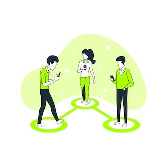 Ilustración del concepto de conectados