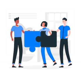 Ilustración del concepto de conexión de equipos