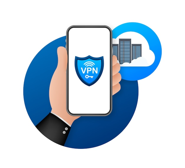 Ilustración de concepto de conexión vpn segura