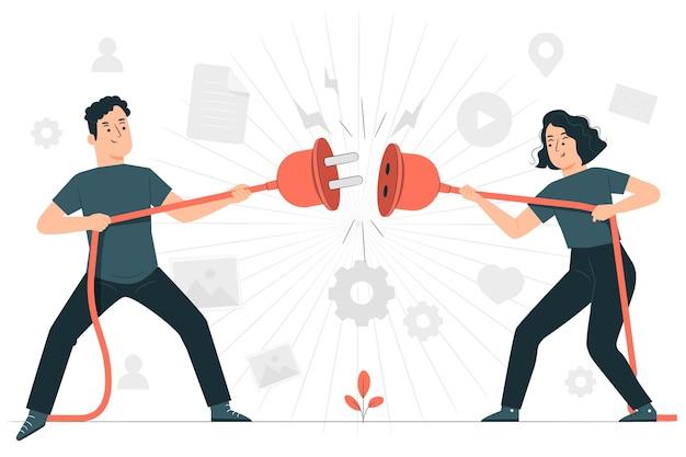 Ilustración del concepto sin conexión
