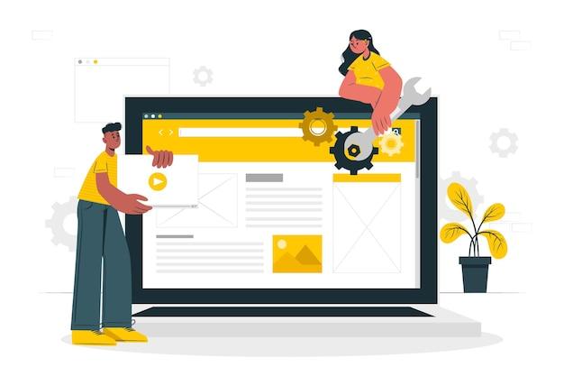 Ilustración del concepto de configuración del sitio web