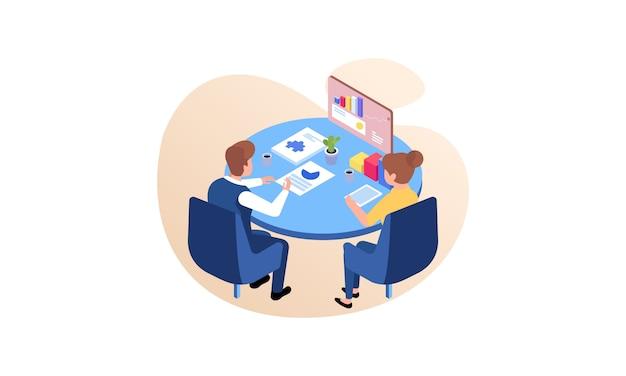 Ilustración de concepto de consultoría de negocios. diseño plano con personajes de dibujos animados.