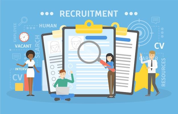 Ilustración del concepto de contratación. idea de personal nuevo.