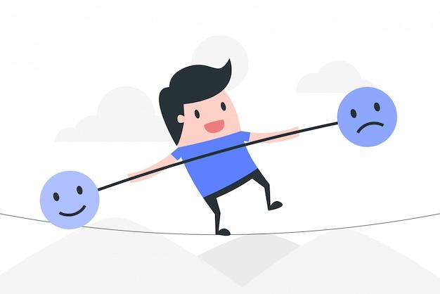 Ilustración del concepto de control de emociones.