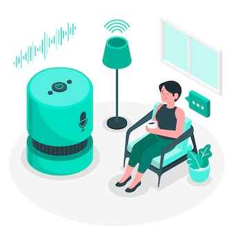 Ilustración del concepto de control de voz