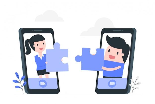 Ilustración de concepto de cooperación en línea y trabajo en equipo.