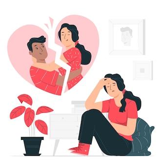 Ilustración del concepto con el corazón roto