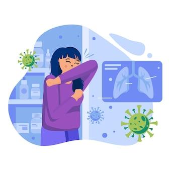 Ilustración del concepto de coronavirus con personajes en diseño plano