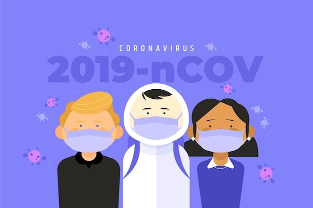 Ilustración con concepto de coronavirus
