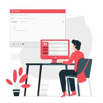 Ilustración del concepto de correos electrónicos