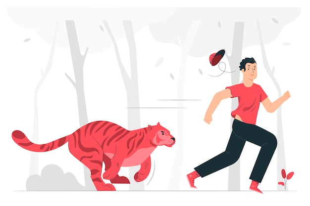 Ilustración del concepto de corriendo salvajemente
