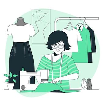 Ilustración del concepto de costurera