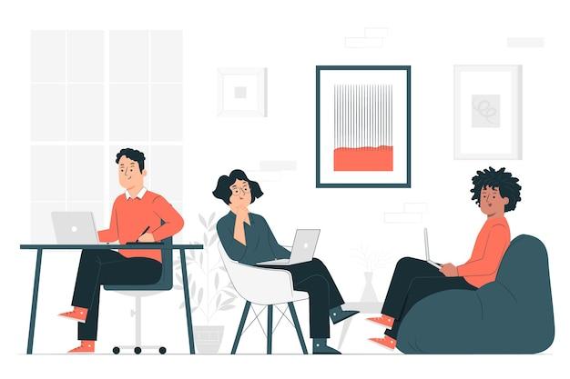 Ilustración del concepto de coworking