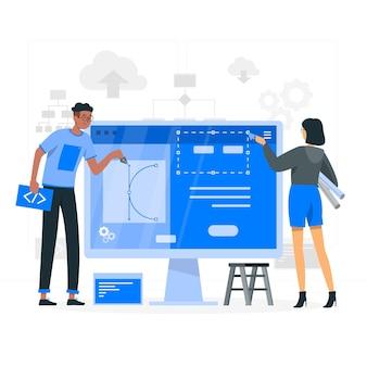 Ilustración del concepto de creador de sitio web