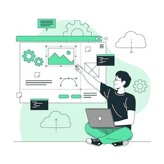 Ilustración de concepto de creador de sitio web