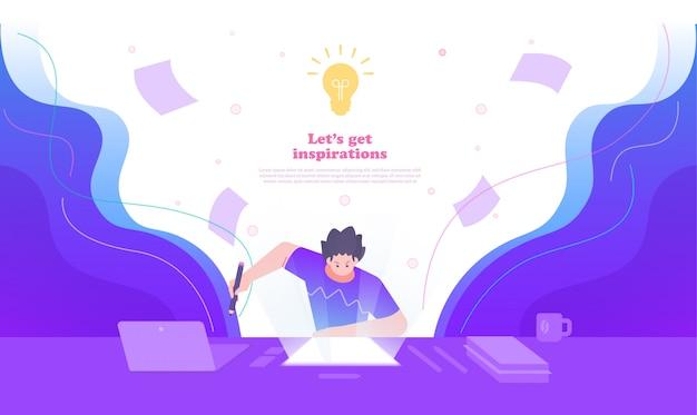 Ilustración de concepto de creatividad, idea e inspiración. ilustración de una persona emocionada e impulsar su trabajo