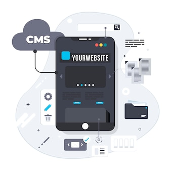 Ilustración de concepto creativo cms en diseño plano