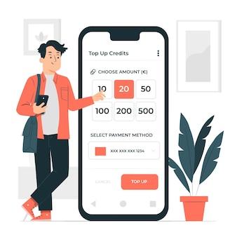 Ilustración de concepto de crédito de recarga