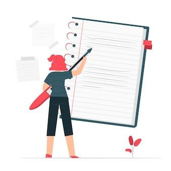 Ilustración de concepto de cuaderno